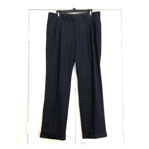 MENS RALPH LAUREN CUFFED PLEATED NAVY DRESS PANTS